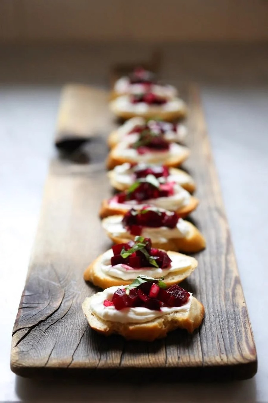 Beet and Basil Bruschetta with Goat Cheese + 15 delicious Thanksgiving SIDE DISHES that will turn your dinner into a feast! | www.feastingathome.com