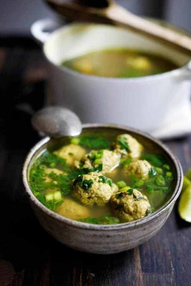 10 FEEL BETTER Brothy Soups to heal, comfort and help build immunity. ARABIC MEATBALL SOUP WITH SPINACH AND LIME | www.feastingathome.com
