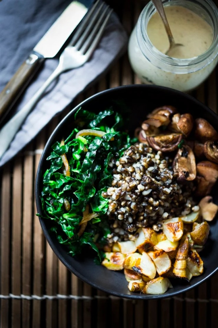 10 EAT CLEAN RECIPES | Roasted Mushroom, Sunchoke & Black Barley Bowl with Zataar Tahini Sauce - Vegan, GF | www.feastingathome.com