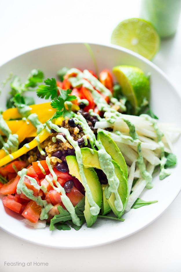 Veggie Burrito Bowl w/ Creamy (Vegan) Cilantro Sauce