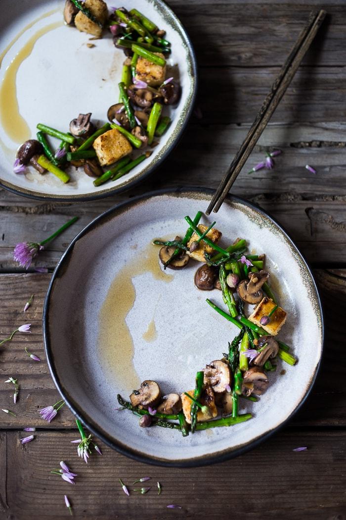 Wok-Seared Asparagus w/ Mushrooms & Crispy Tofu