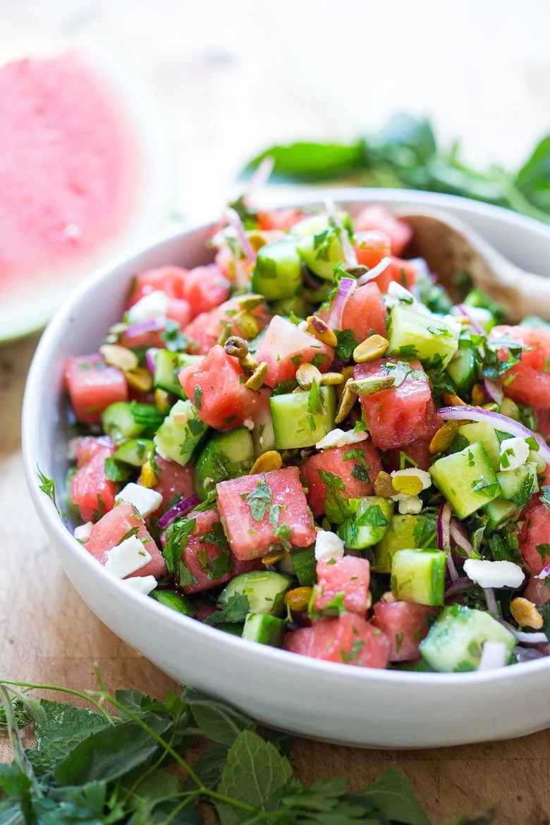 Moroccan Watermelon Cucumber Salad with Pistachio