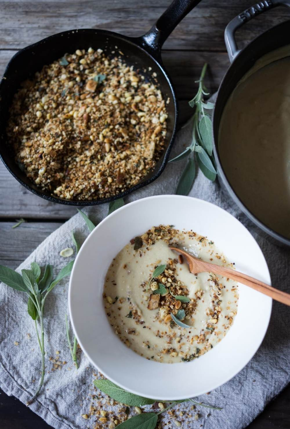 Cauliflower Leek Soup with Sage & Toasted Pine Nut Crumble