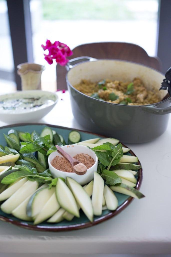 Green papaya Salad with cucumber, mint and chili salt | www.feastingathome.com
