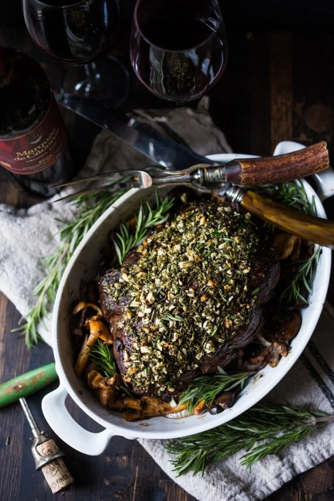 Rosemary Garlic Beef Roast with Wild Mushrooms , a simple elegant recipe perfect for your holiday dinner. | www.feastingathome.com