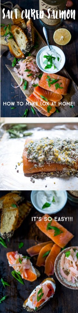 How to make LOX! EASY Salt Cured Salmon with Citrus and rosemary- 10 minutes of prep then stick in the fridge !   www.feastingathome.com
