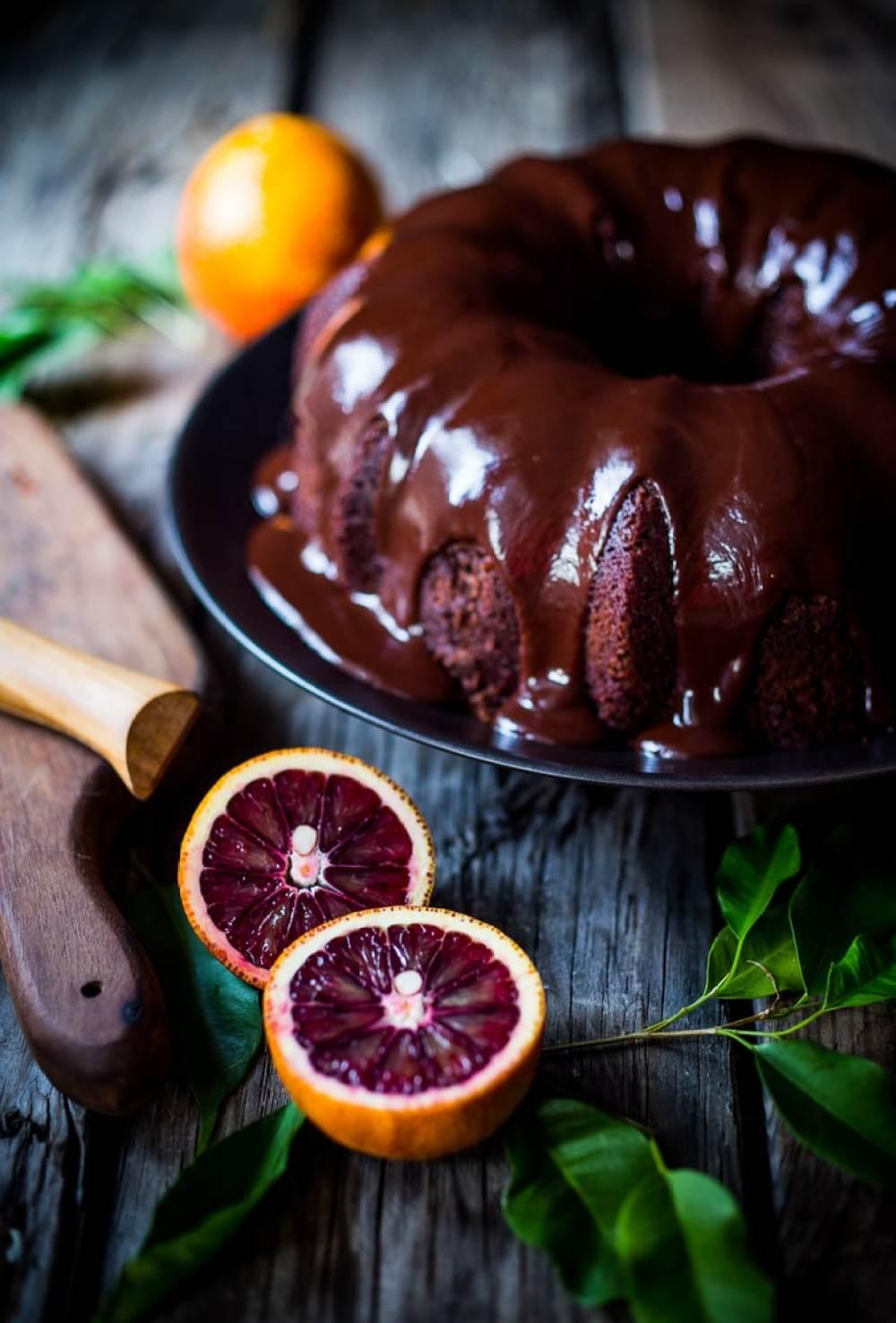Dark Chocolate Bundt Cake with Blood Oranges
