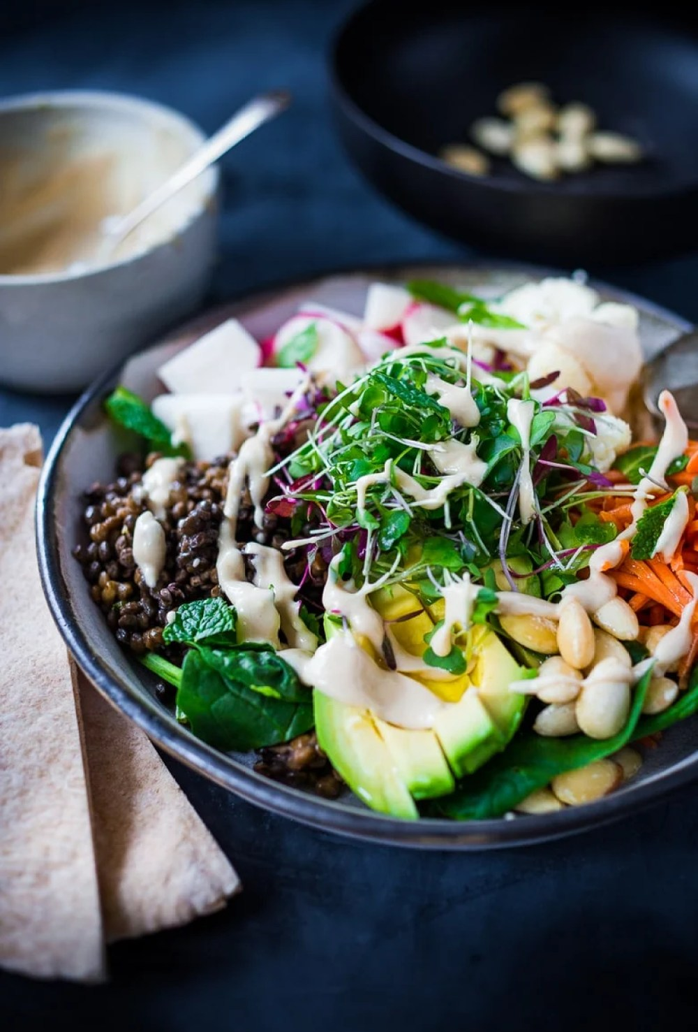 Minted Lentil Veggie Bowl w/ Soaked Almonds & Quick Hummus Dressing