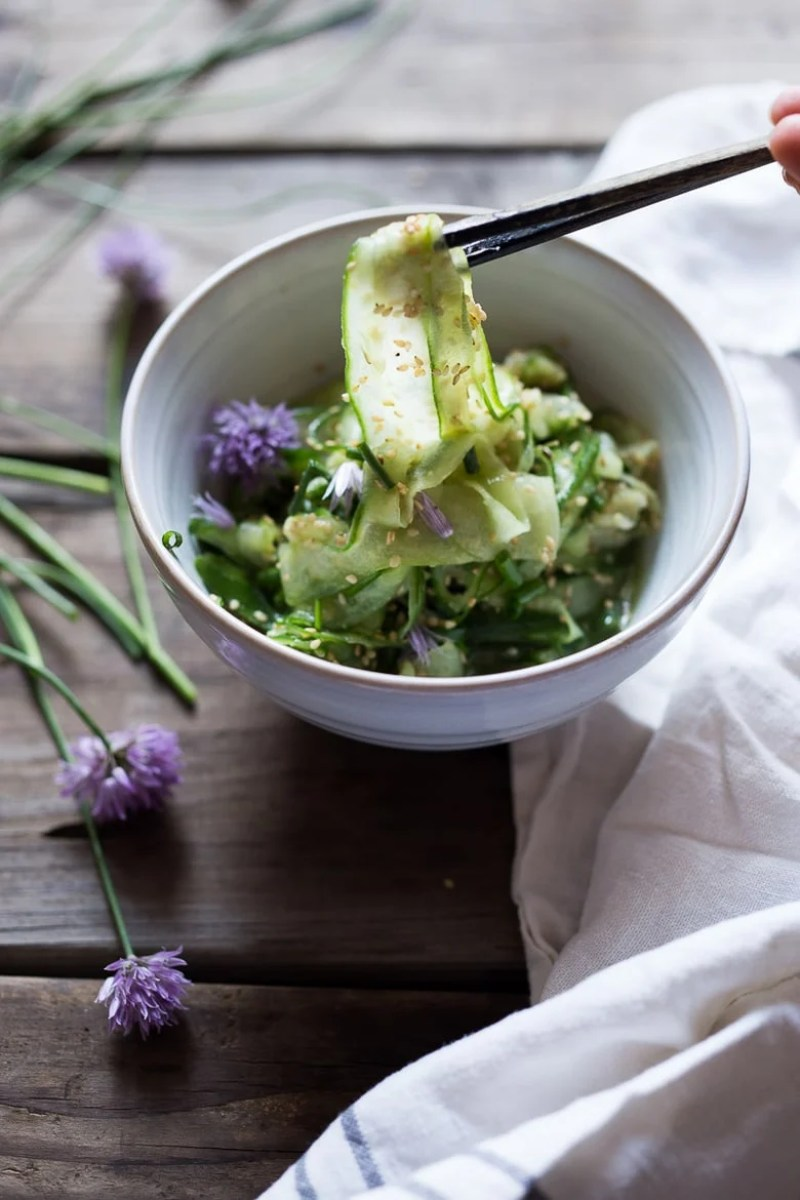 Cucumber Ribbon Salad with Toasted Sesame Seeds and Chives | www.feastingathome.com