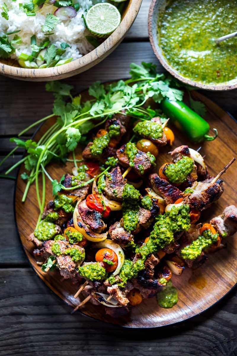 GRILLED CHILEAN BEEF SKEWERS W/ SMOKY CHIMICHURRI