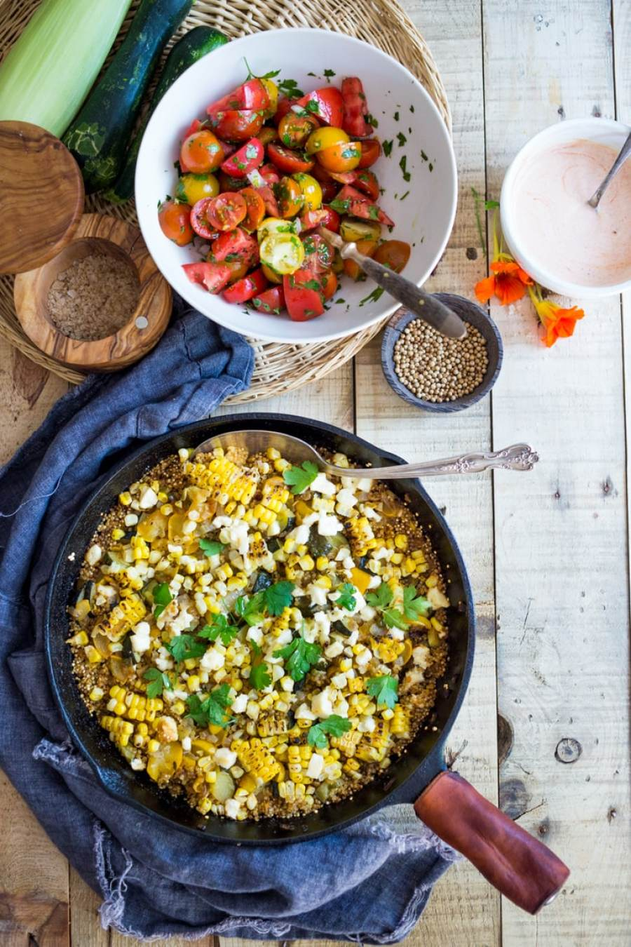 BAKED QUINOA WITH ZUCCHINI AND CHARRED CORN | Feasting At Home