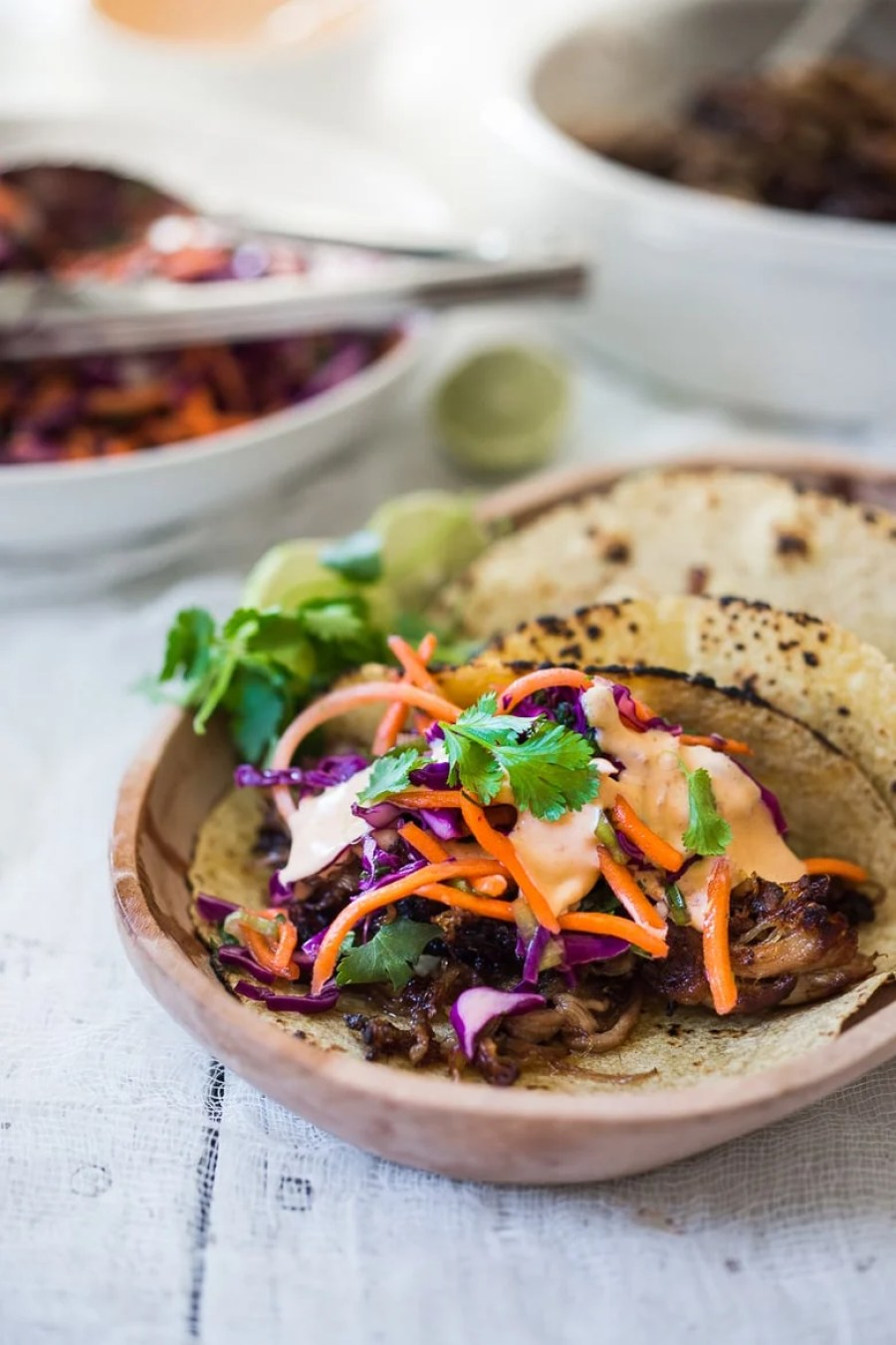 recipe for Five Spice Pulled Pork Tacos with Asian Slaw and Spicy ...