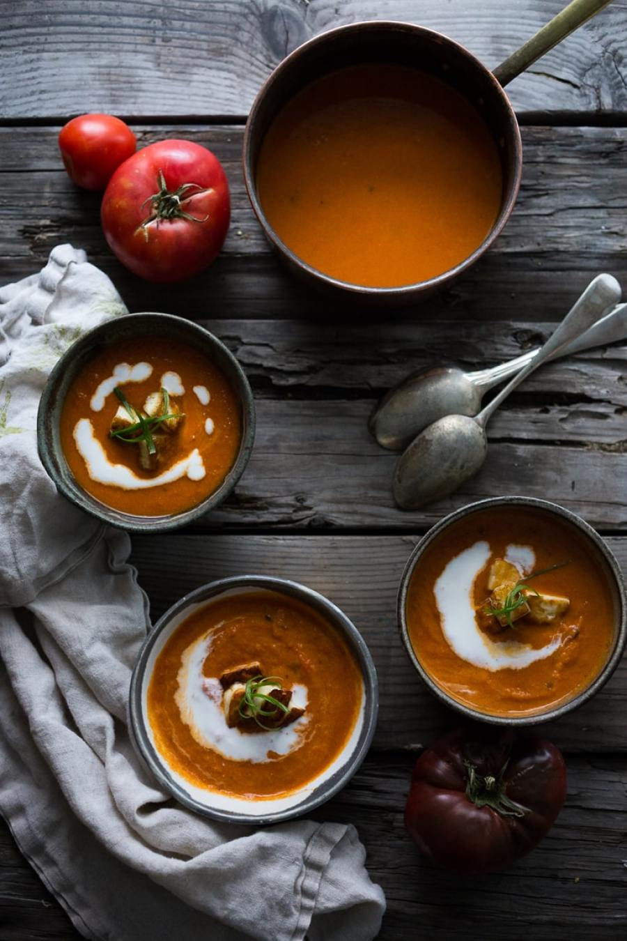 A simple tasty recipe for Roasted Tomato Soup with Haloumi Croutons, Yogurt and Sumac, velvety and delicious! | www.feastingathome.com