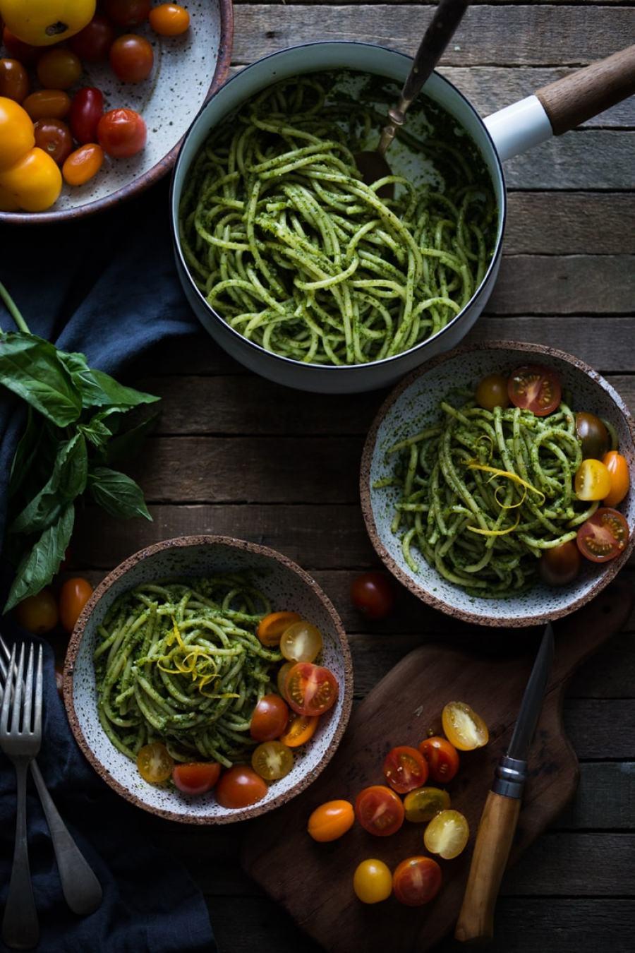 Bucatini Pasta with Arugula Almond Pesto & Heirloom Tomatoes