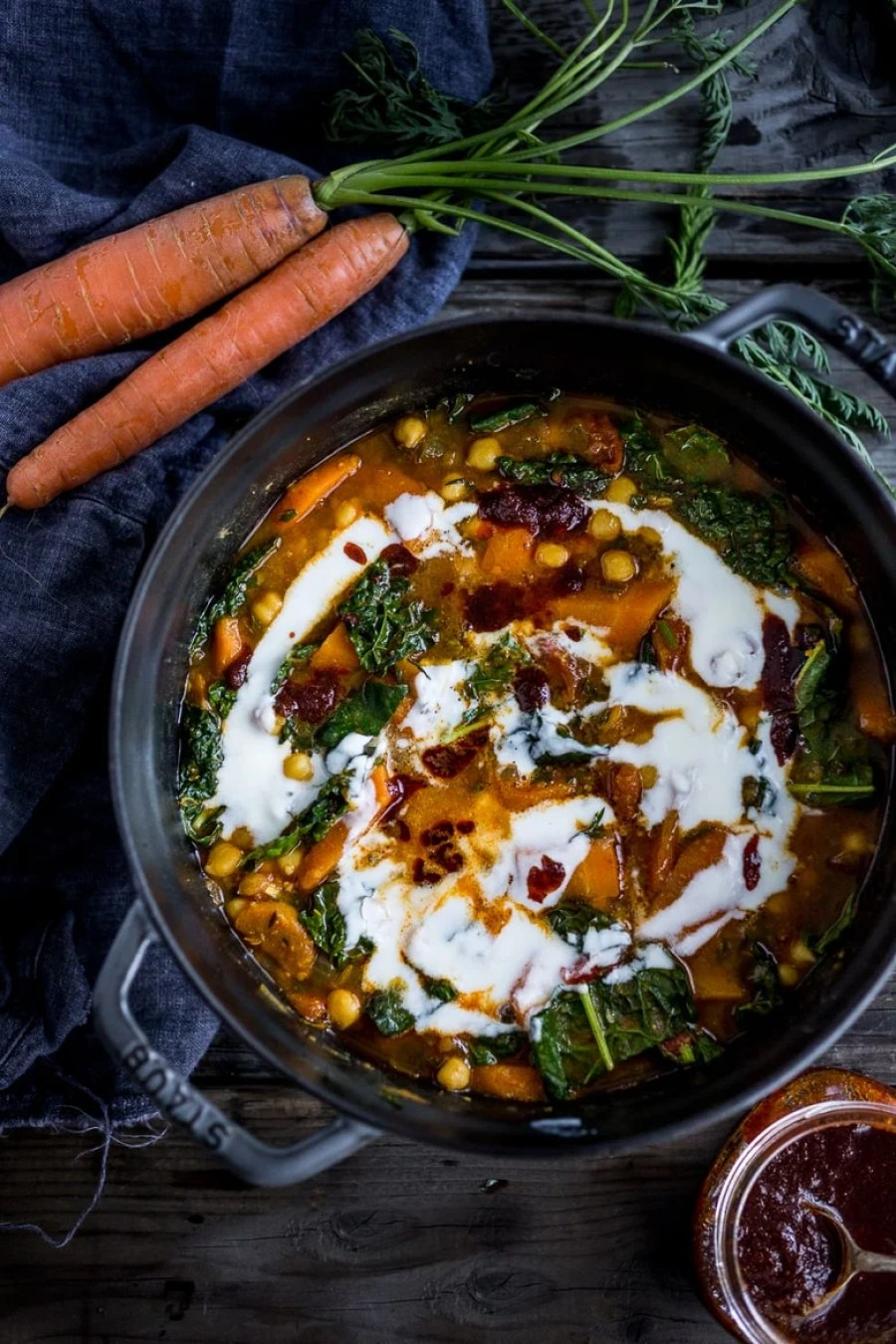 10 Simple Powerful Turmeric Recipes to Heal, Sooth and Protect| Add fresh turmeric to soups and stews! Tunisian Chickpea Stew with Carrots, turmeric, harissa and Yogurt!