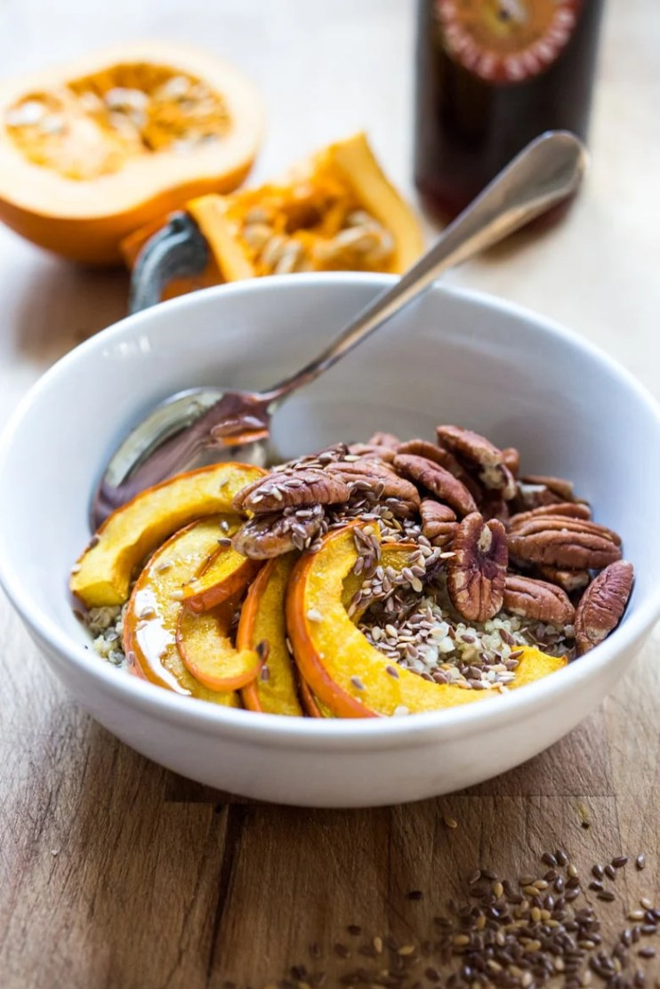 MAPLE PUMPKIN PECAN MORNING BOWL | 5 Morning Grain Bowls to prep ahead for the busy workweek. Healthy, gluten free and vegan adaptable. | www.feastingathome.com