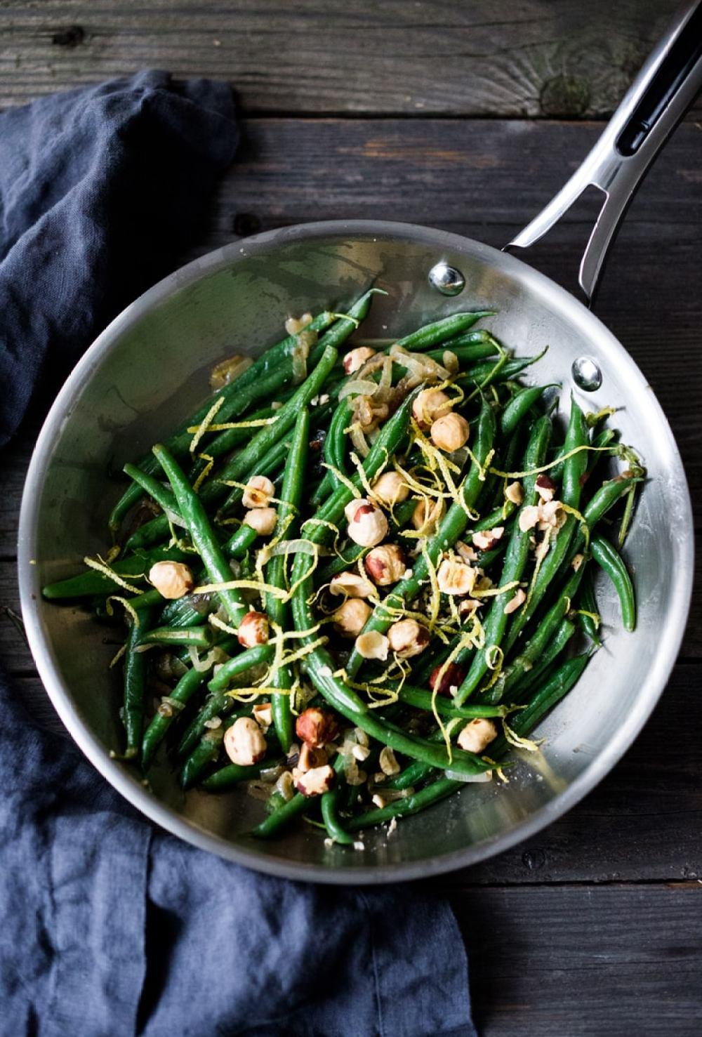 Hazelnut Green Beans with lemon zest & truffle oil