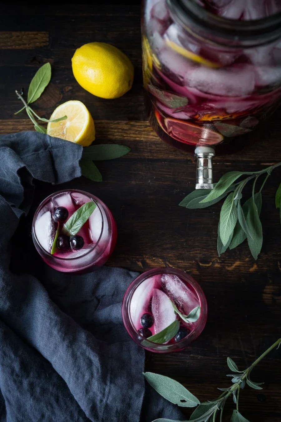 Blueberry Gin and Sage Punch -A refreshing make ahead, holiday punch, with lemon and prosecco, sparkling and effervescent. | www.feastingathome.com
