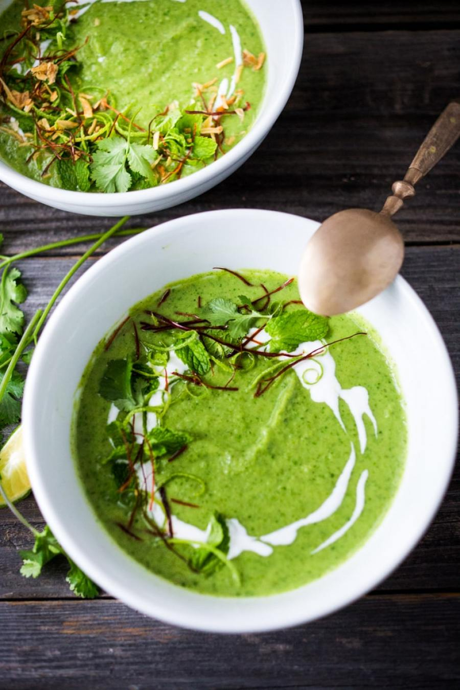 EAT CLEAN with these 20 simple Plant-Based Meals    Thai Broccoli Soup with Coconut & Lime - bursting with authentic Thai flavors.   www.feastingathome.com