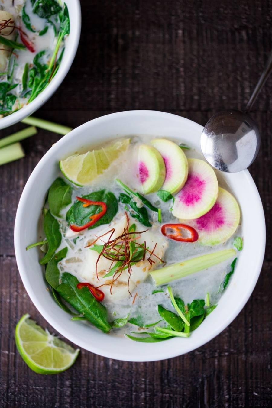 Poached Cod in Lemongrass Broth over Baby Spinach ...a fragrant, healing bowl that can be made in under 30 minutes. GF, Low Carb. | www.feastingathome.com