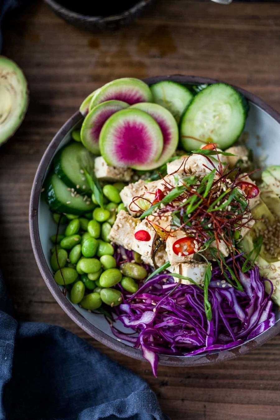Healthy Poke Bowl- made with TOFU! Served over brown rice or kelp noodles, with avocado, cucumber, radish and Citrus Ponzu Sauce! | www.feastingathome.com