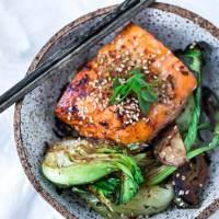 Sheet-Pan Teriyaki Salmon ( or Tofu) and Baby Bok Choy