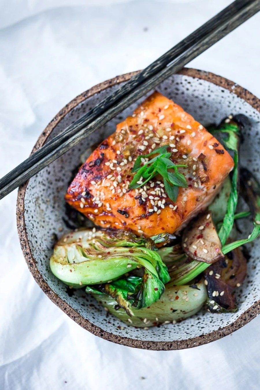 Sheet-Pan Teriyaki Salmon and Baby bok choy , a delicious healthy dinner that can be made in 25 minutes   www.feastingathome.com
