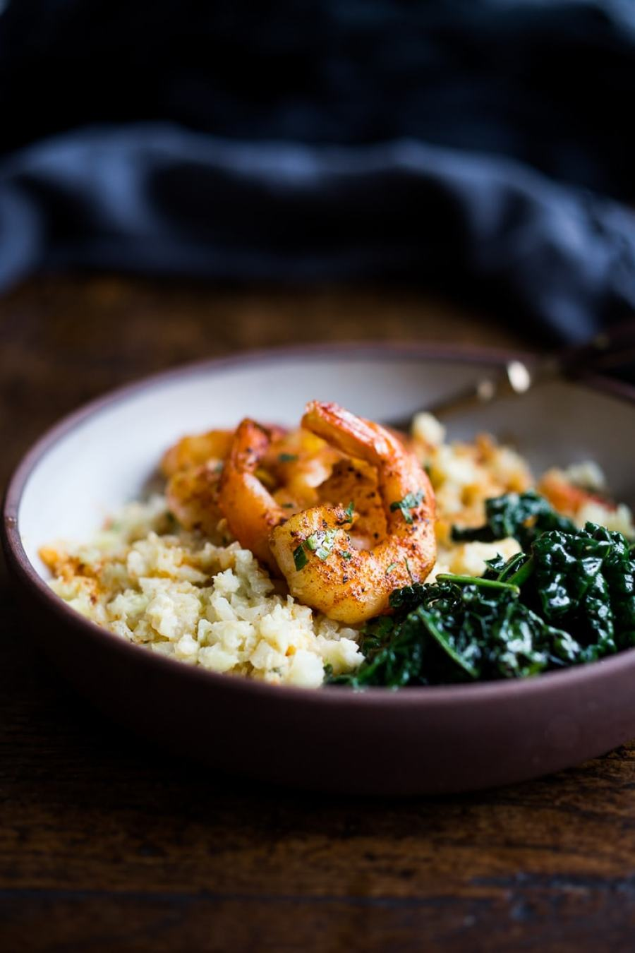"""Portuguese Shrimp and Cauliflower """"Grits""""- with garlicky kale. A fast delicious dinner that is vegan adaptable and gluten free! 