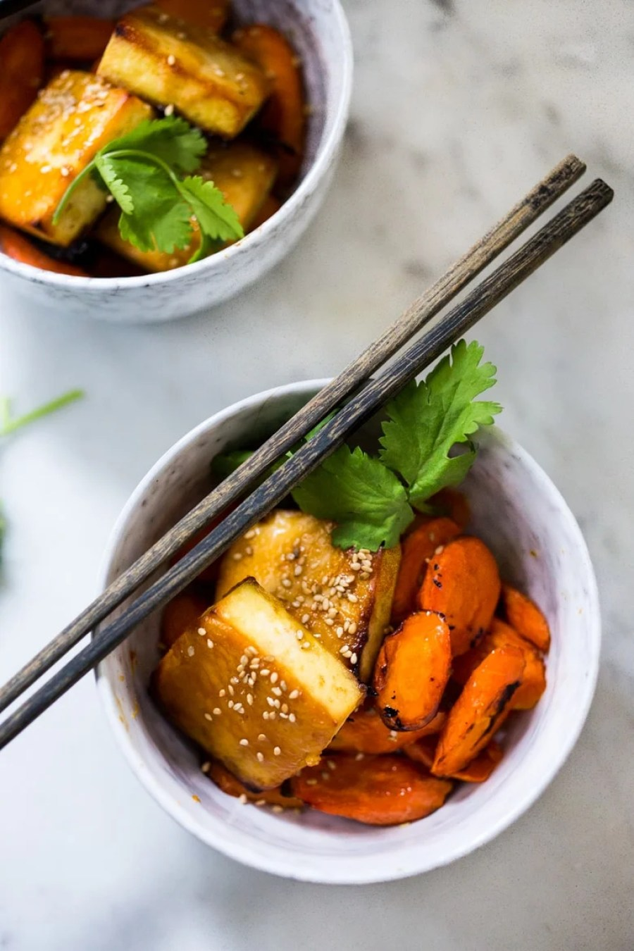 Honey Miso Carrot Tofu Bowl- a Sheet Pan dinner that can be made with tofu, chicken or salmon. Under 300 calories! | www.feastingathome.com