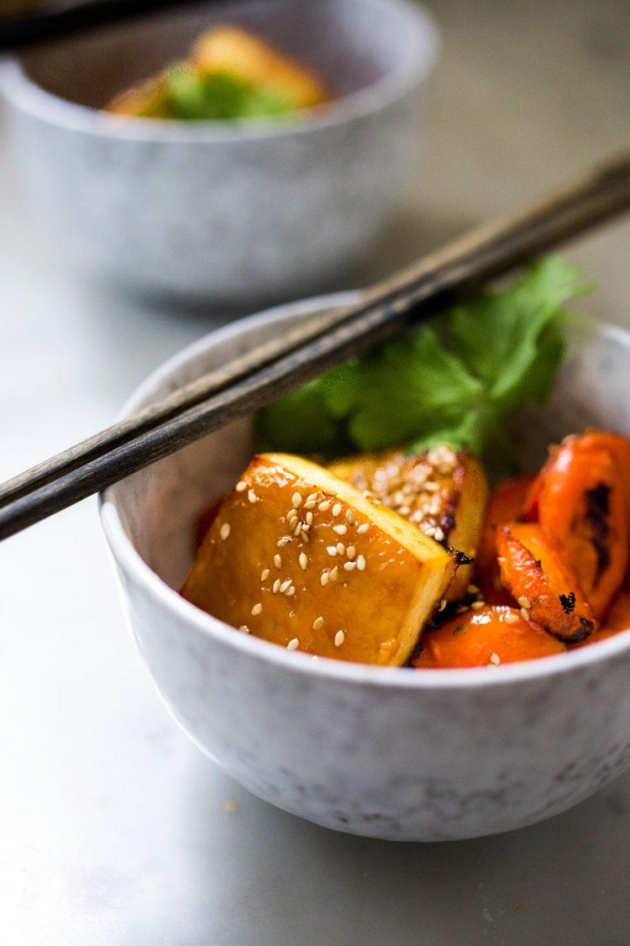 Sheet Pan Miso Tofu Carrot Bowl