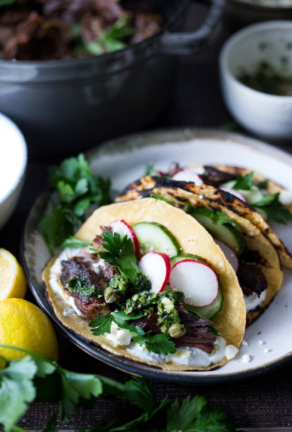 Greek Lamb Tacos with Minted Yogurt Sauce