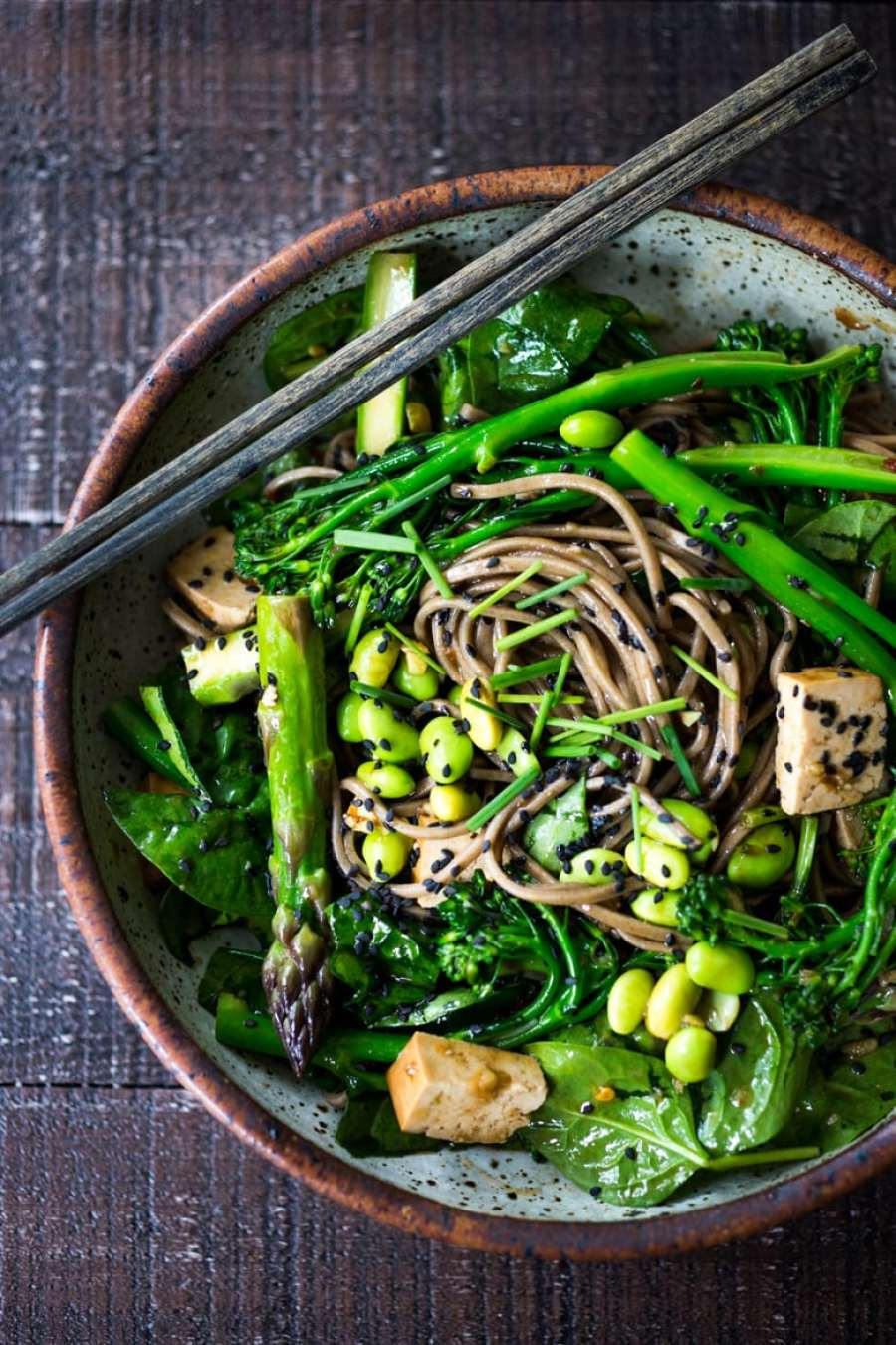 EAT CLEAN with these 20 simple Plant-Based Meals  JADE NOODLES loaded with seasonal veggies and a sesame dressing.   www.feastingathome.com