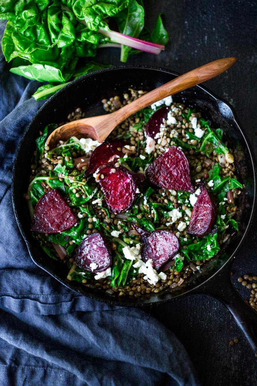 EAT CLEAN   20 VEGGIE BASED MEALS   Warm Lentils with wilted chard, roasted beets, goat cheese and spring herbs. A simple tasty vegetarian meal!   www.feastingathome.com