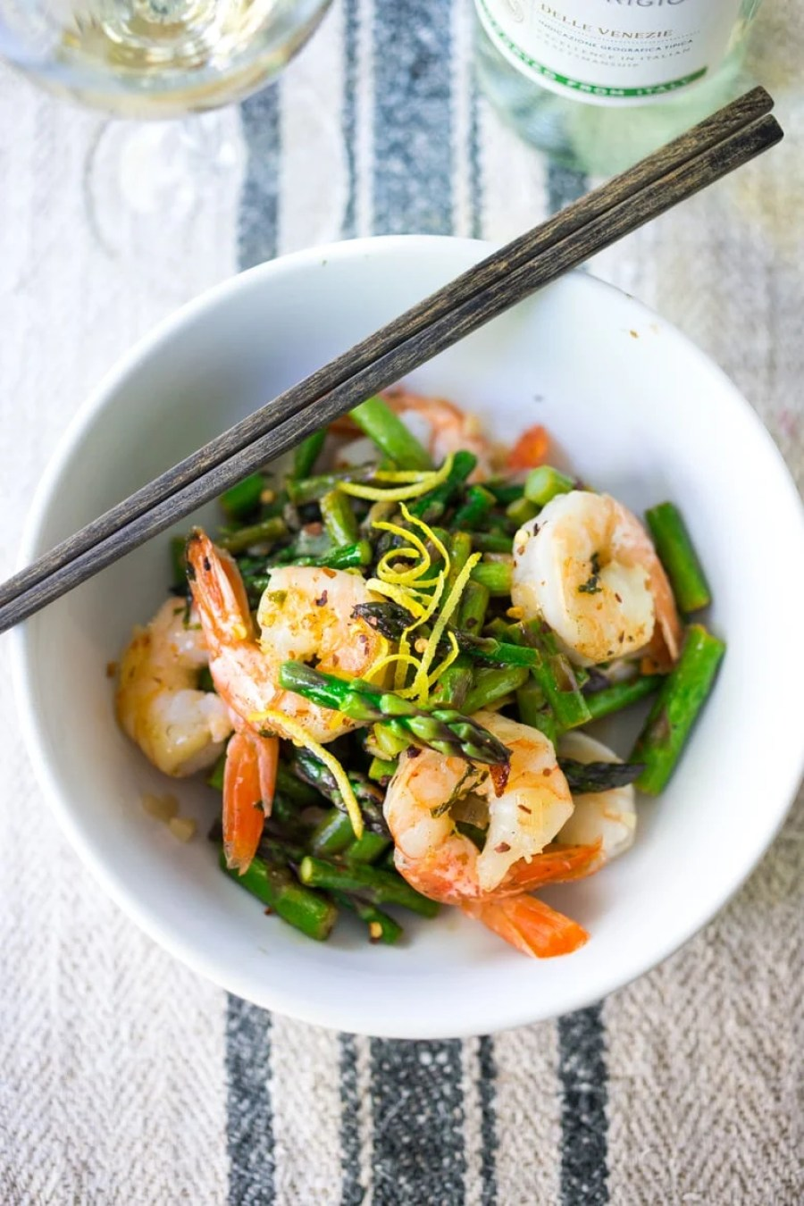 15 Minute Lemon Basil Shrimp and Asparagus- a delicious and healthy skillet meal that can be made with shrimp, tofu or chicken. | www.feastingathome.com #glutenfree
