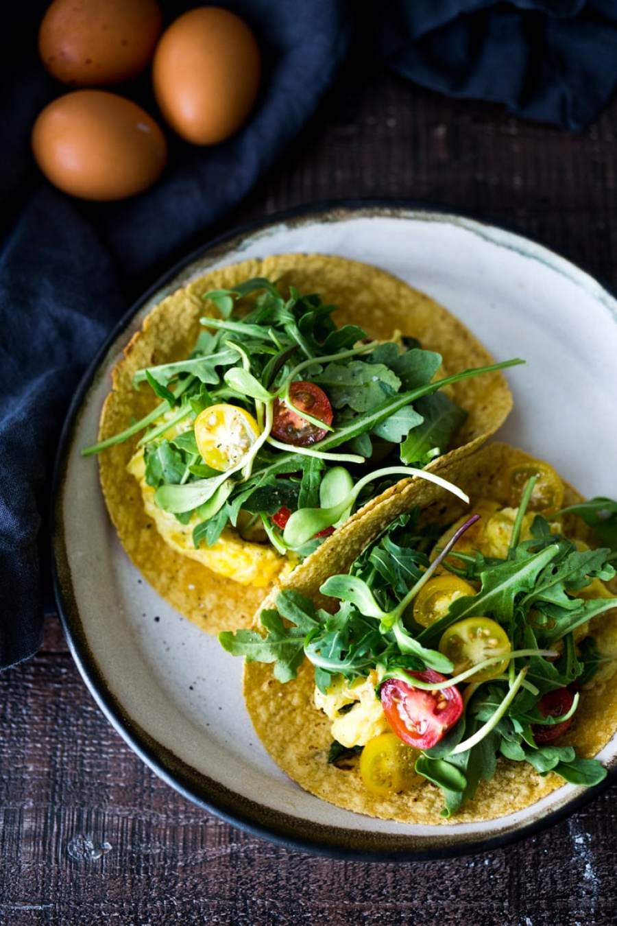 Scrambled Egg Tacos- these make for a quick healthy dinner, breakfast, or a late night snack- these healthy vegetarian tacos can be made in 15 minutes! www.feastingathome.com