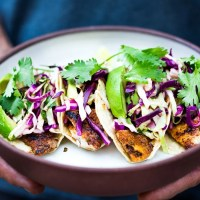 Quick & Easy Fish (or Tofu) Tacos w/ Cilantro Lime Cabbage Slaw
