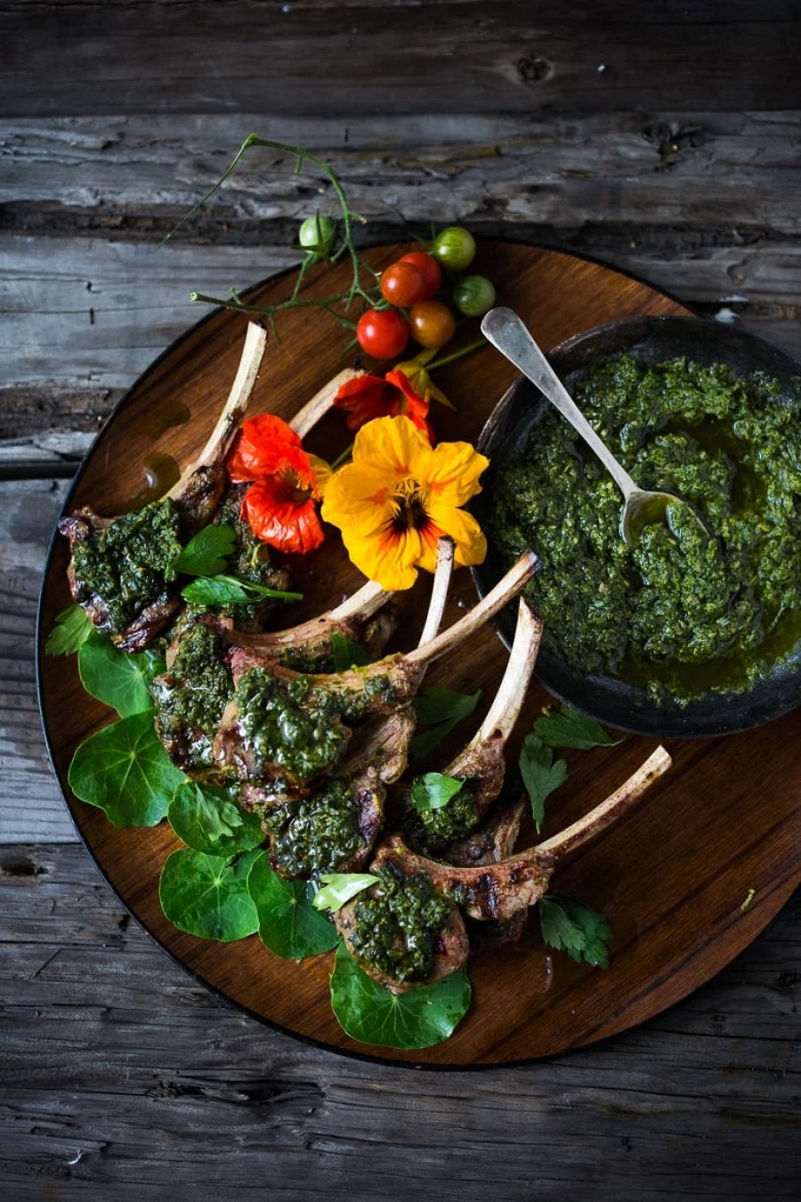 Grilled Lamb Lollipops with Salsa Verde