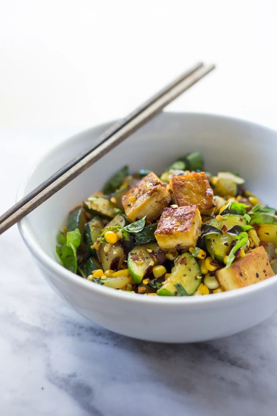 Zucchini, Corn and Basil Stir-fry