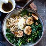 Farro Bowl with Figs, Kale and Goat Cheese- a simple, healthy and packable meal, perfect for mid-week lunches.   www.feastingathome.com