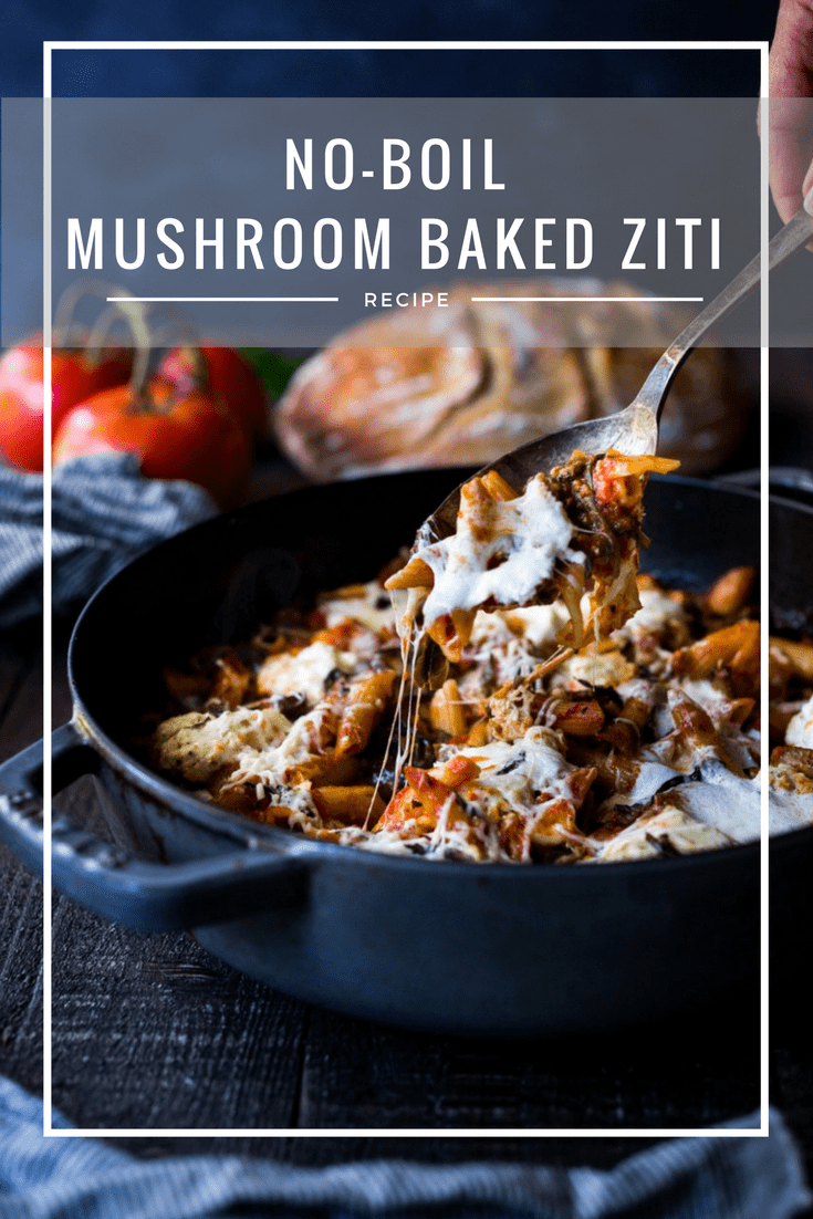 A simple, flavorful no-boil, Mushroom Baked Ziti with Spinach and Ricotta ( or sub tofu ricotta) that can be made in one pan and requires no pre-boiling of pasta. Perfect for weeknight dinners! #noboil, #ziti, #vegan | www.feastingathome.com