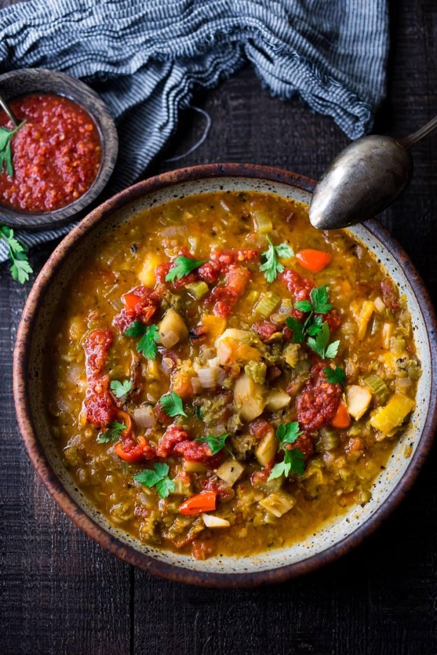 Instant Pot Split Pea Soup with Harissa