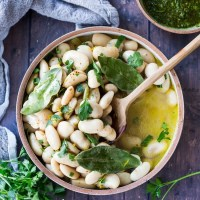 Lemony Corona Beans with Olive Oil, Garlic & Herbs