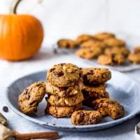 Vegan Pumpkin Chocolate Chip Cookies with Hazelnuts