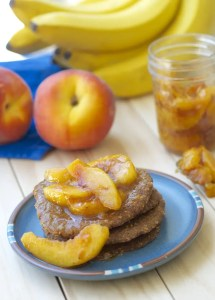 Raw Oatmeal Pancakes with Peach Compote