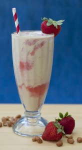 Peanut Butter Strawberry Swirl Milkshake with Peanut Milk