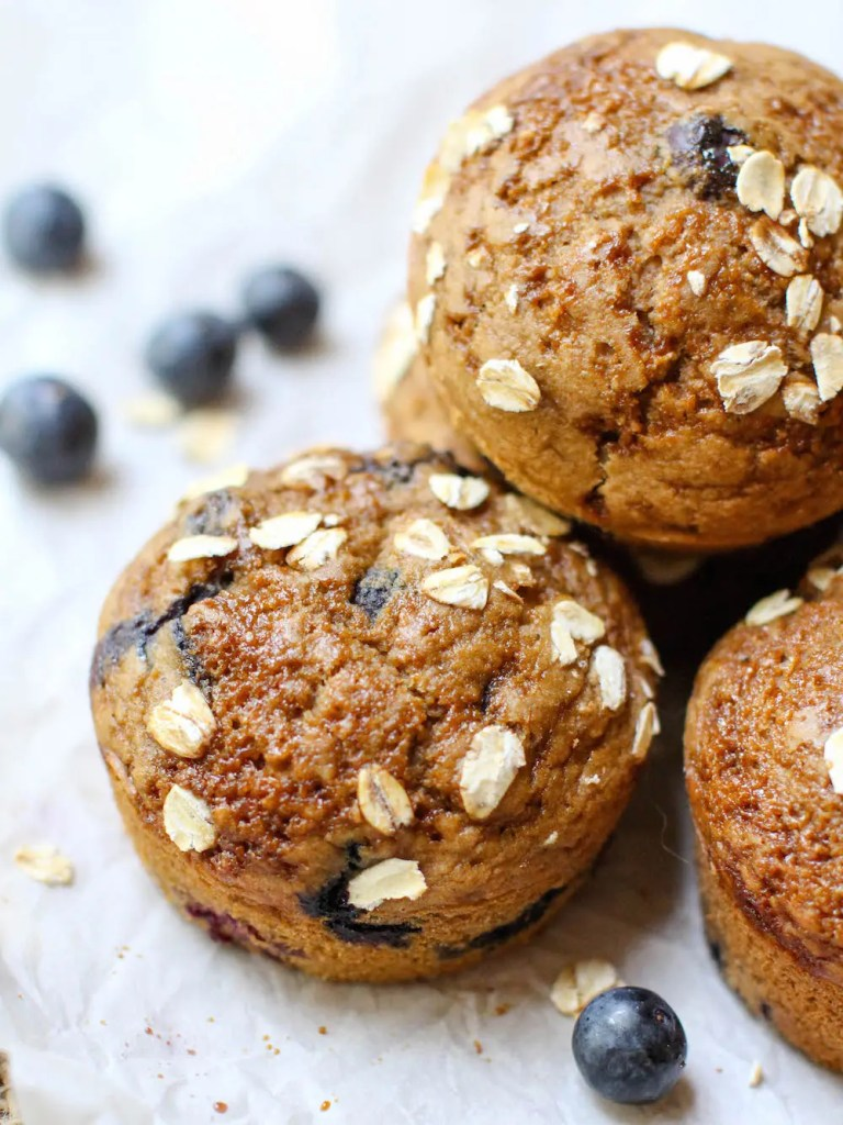 Vanilla Blueberry Muffins (Oil-free + GF) - FeastingonFruit.com