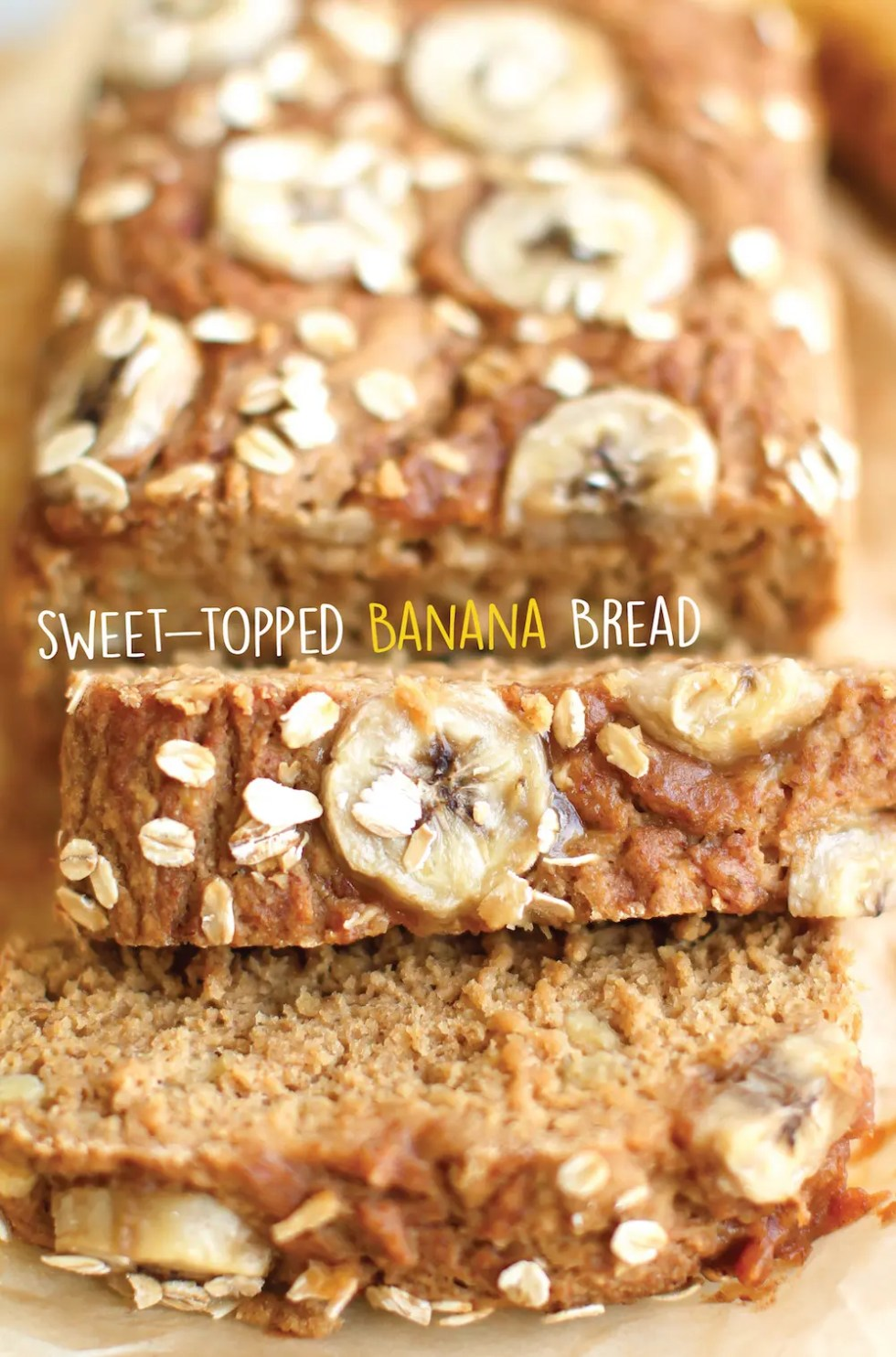 Oat flour banana bread with just a few simple ingredients and an extra-sweet cinnamon date topping! Oil-free and coconut sugar sweetened.