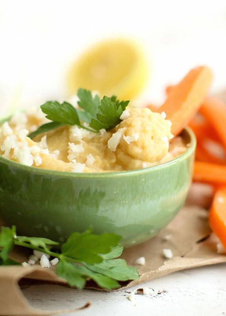 Cauliflower Hummus - FeastingonFruit.com