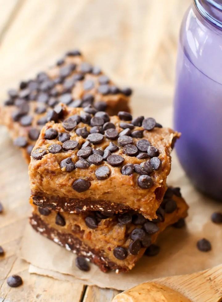 Chocolate Peanut Butter Cookie Dough Bars - feastingonfruit.com