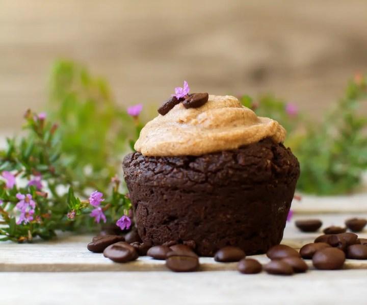 Vegan Caramel Espresso Cupcake | fruit-sweetened, gluten-free, oil-free